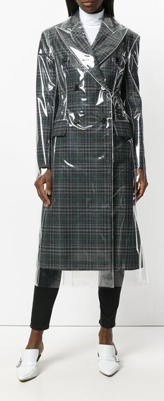 CALVIN KLEIN 205W39NYC matte coated check coat, shop now on Farfetch.