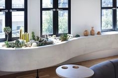 A cacti garden has been included in a built-in indoor planter.