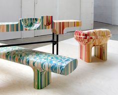 This Dyed Wood Furniture Features Distorted Grids Of Checked Patterns