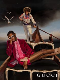 A gondola steered by a gondolier dressed in a Gucci Elton John look inspired by an original Bob Mackie bomber from sir Elton John's archive. Mermaids are in the water, an owl in the air and a man reclines in the plush seat wearing a look by Alessandro Michele. Designed by the hand of Ignasi Monreal, an image from the Gucci Spring Summer 2018 campaign Gucci Hallunication.  Creative Director: Alessandro Michele Art Director: Christopher Simmonds