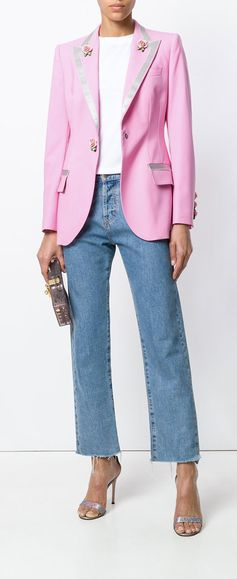 Dolce & Gabbana Single Breasted Blazer with Small Roses