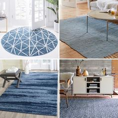 Blue Rug Ideas - We've put together a list of modern blue rugs in a variety of shapes and sizes that range from plain to patterned to textured. #BlueRugs #BlueFloorRugs #HomeDecor #FloorCovering
