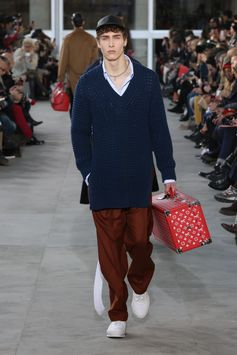 A look from the Louis Vuitton Men's Fall-Winter 2017 Fashion Show by Kim Jones, designed in collaboration with Supreme