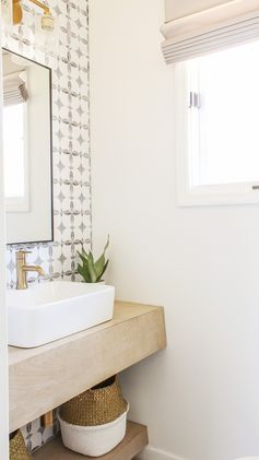 DIY boho chic powder room reveal with sources