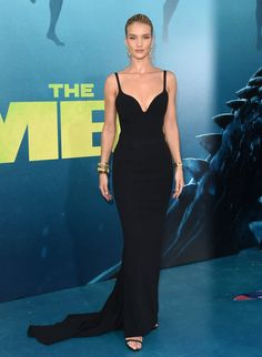 Rosie Huntington-Whiteley wearing Stella McCartney on the red carpet for her new movie The Meg.