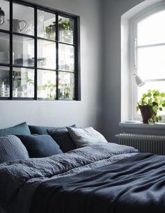 camaieu de draps bleus pour la chambre