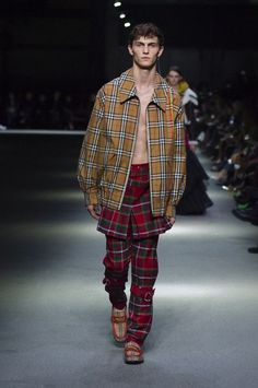 A Rainbow check Harrington jacket with tartan trousers and 1983 check loafers #BurberryShow #LFW
