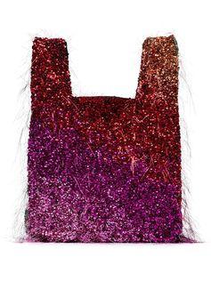 multicoloured tinsel embellished tote bag