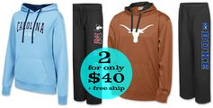 Finish Line:  TWO NCAA Fleece Hoodies/Sweatpants = $40 + FREE Shipping!  Regularly $40 Each!
