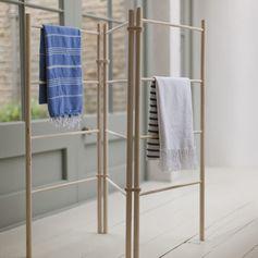 Porte-serviettes pour salle de bain en bois d'épicéa avec 12 barreaux ZigZag : Decoclico