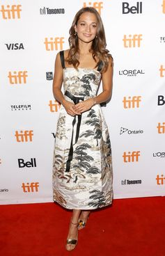 """Alicia Vikander wearing a Louis Vuitton look from the Cruise 2018 Collection, to the """"Euphoria"""" Premiere during the Toronto Film Festival, on September 11th."""