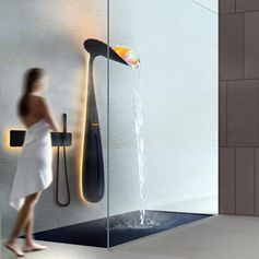 A sculptural shower that looks like a flower.