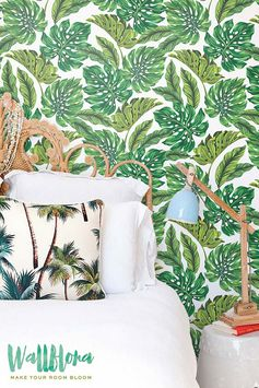 Monstera Leaves Pattern Wallpaper Exotic par WallfloraShop sur Etsy