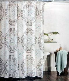 Tahari Fabric Shower Curtain Gray and Aqua Blue Scroll Medallions on White