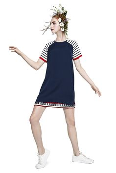 Desigual women's blue short-sleeved straight cut dress with contrasting sailor prints and double hem. Discover Desigual Women's Spring Collection on our website!