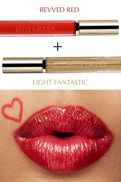 Get a red lip look that glistens with Pure Color Love in Revved Red and Light Fantastic.