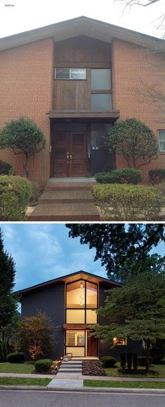 This updated house how has charcoal colored stained brick, mahogany siding, and large windows that show off the lighting and wood ceiling. #ModernRenovation #ModernRemodel #HouseRenovation #Architecture #Windows
