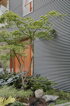 A modern house with corrugated metal siding.