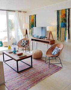 decoration murale salon boho chic tentures laine #design #interior