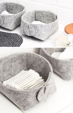 Storage Ideas - SKANDINAVIOUS has designed a collection of modern storage baskets, that are made from felt and leather, are collapsible, come in a range of sizes, and can be used as toy storage, bathroom storage, as a magazine holder, pantry bins, and a variety of other uses. #StorageIdeas #StorageBins #StorageBaskets #FeltBaskets #ModernDecor #ModernBaskets