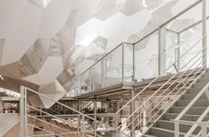 A sculptural ceiling for an office space.