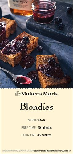 The Maker's Mark Blondie recipe has a little secret to it… It is actually a Blackberry Blondie recipe. What is better than a warm blondie? A warm blondie with blackberry topping. Blondie Recipe: 1-1/2 oz. Maker's Mark Bourbon 1 lb. butter 4 cups brown sugar 4 tsp. vanilla extract 3 eggs 1 egg yolk 4 cups flour 2 tsp. baking powder 1 tsp. salt. Maker's Mark Blackberry Topping Recipe: 2 cups ripe blackberries 3 oz. Maker's Mark Bourbon 1/3 cup sugar 1 tsp. vanilla. Click-thru for directions.