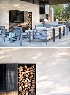 In this outdoor living room, oxidized steel panels have been used in the design of the fireplace, providing separation for the television and firewood storage. #Fireplace #OutdoorLivingRoom