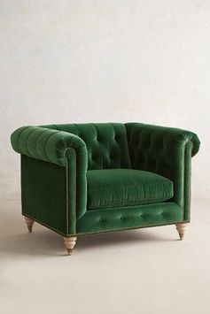 Velvet Lyre Chesterfield Armchair, Wilcox - anthropologie.com oh so many colors!