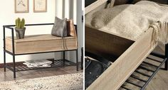 Benches are a great way to store your blankets when going unused. The benches, which often have a lift up lid or drawers, make it easy to access the blankets when needed, and are also ideal if you have a space in a hallway, entryway, or under a window that needs seating and storage. #StorageBench #BlanketStorage