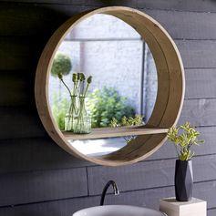 Miroir en pin 70 Aya Malin avec sa petite étagère intégrée
