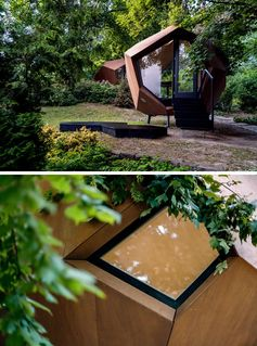 Hello Wood has designed and built a geometric wood cabin that makes it easy to have a backyard home office. #BackyardHomeOffice #HomeOfficeIdeas #BackyardOffice #Architecture #HomeOffice