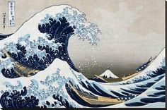Stretched Canvas Print: The Great Wave at Kanagawa (from 36 views of Mount Fuji), c.1829 by Katsushika Hokusai : 24x36in