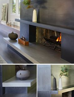 A Blackened Steel Fireplace Surround With A Concrete Hearth Is A Strong Look Inside This Mid-Century Modern House