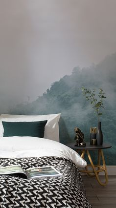 Create the ultimate relaxation experience each day in your home with our exquisite Smokey Treetops Wallpaper Mural. This mural features a lush green forest gently veiled in a soft fog, fading the scenery and creating a hazy feel of calm in all who gaze upon it. #wallpaper #murals #wallmurals #interior #interiordesign #design #home #homedecor #interiordecor #accentwall #inspiration #Ihavethisthingswithwalls