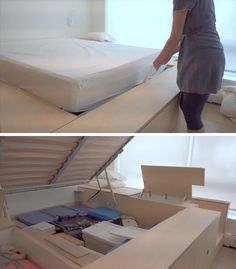 A custom designed platform bed that's been raised up to create hidden storage.