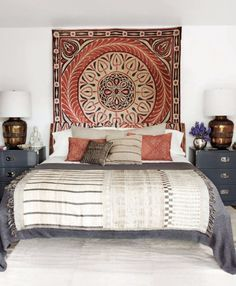 Bedroom, rug for headboard, metallic accessories