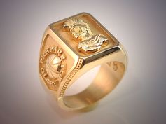 10K Yellow Gold Gents Ring with Customized Symbols and Lettering