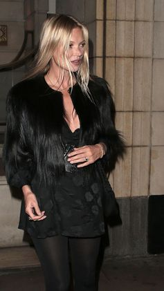 Kate Moss in a Stella McCartney fur free fur on her way to her birthday celebrations.