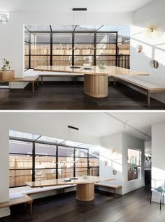 Dining Room Ideas - This modern house features a custom-designed large dining table with a wraparound bench, that also follows the lines the black-framed windows. At the end of the dining area, there's a window that showcases the small plunge pool outside. #DiningRoom #DiningRoomIdeas #Windows #BuiltInBench #BuiltInSeating