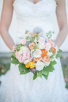#Bridal bouquet with orange, yellow, pink and white flowers | Fall Wedding in Connecticut | Lillie Fortino Photography