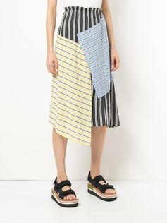 Astraet patch-work asymmetric midi skirt