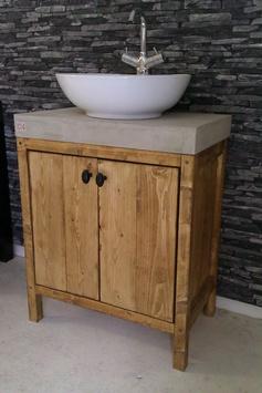 De 'Legno' van WOOD4 is een badkamermeubel dat landelijke nostalgie uitstraalt. Uitgevoerd met een wit/grijs betonnen blad. Bathroom