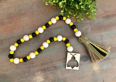 Bee Bead Garland. Yellow and Black Chevron. Bumblebee Wood Bead Garland. Farmhouse Decor Item. *Includes Bead Garland Only*