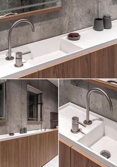 A modern bathroom with a custom-made narrow double sink vanity with white countertop and wood cabinets underneath