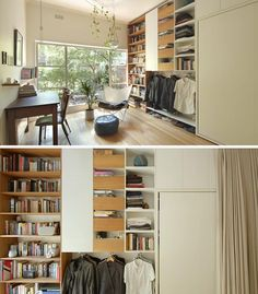 This micro apartment has a wall of storage with a bookshelf, multiple drawers, a cabinet, a dedicated place to hang clothes, and a fold-down bed. #MicroApartment #SmallLiving #TinyLiving #Storage
