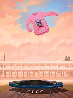 """""""A Gucci Cruise 2018 JUMP-er featuring the House's vintage logo paired with the green-eyed Mystic  Cat appliqué—a motif influenced by vintage postcards. Illustration by Ignasi Monreal. """""""