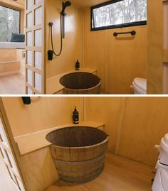 Inside the bathroom of this modern tiny house, is a waterproofed wine barrel that acts as a shower tub. #TinyHouse #TinyHome #Bathroom #WineBarrelBath
