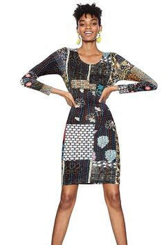 Women's long-sleeved dress with patchwork of multiple matching fabrics, belt detail and sparkly embroidery on the chest.Discover this Desigual dress and our collection on our website.