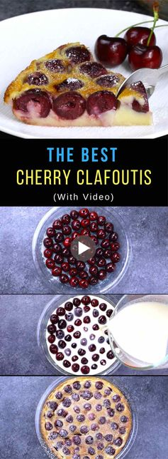 Easy Cherry Clafoutis – A classic rustic French recipe combining fresh sweet cherries in a smooth and delicious pancake-like batter. It's so simple to make! All you need is fresh cherries, butter, sugar, egg, salt, vanilla extract, almond extract and milk. The perfect desert to wow your family and friends! Quick and easy recipe. Party food. Great for a holiday brunch such as Easter, Mother's Day or Father's Day. Video recipe.   Tipbuzz.com