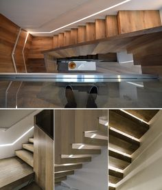 Modern wood stair lit by lighting built into the wall.